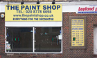 Paintshop, 2016<br>Datum paintings and disused shop. Acrylic on vinyl with glass and mixed media, paintings 22.5 &#215; 15.5cm